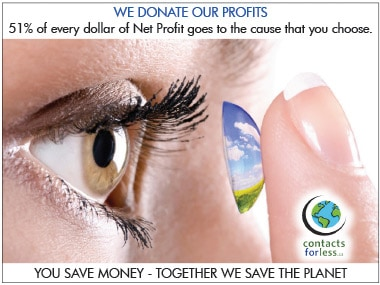 We donate profits from Contact lenses in Canada