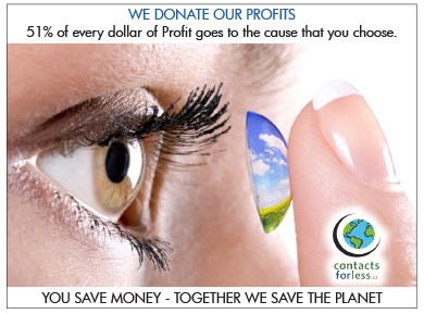 We donate our profits when selling contact lenses