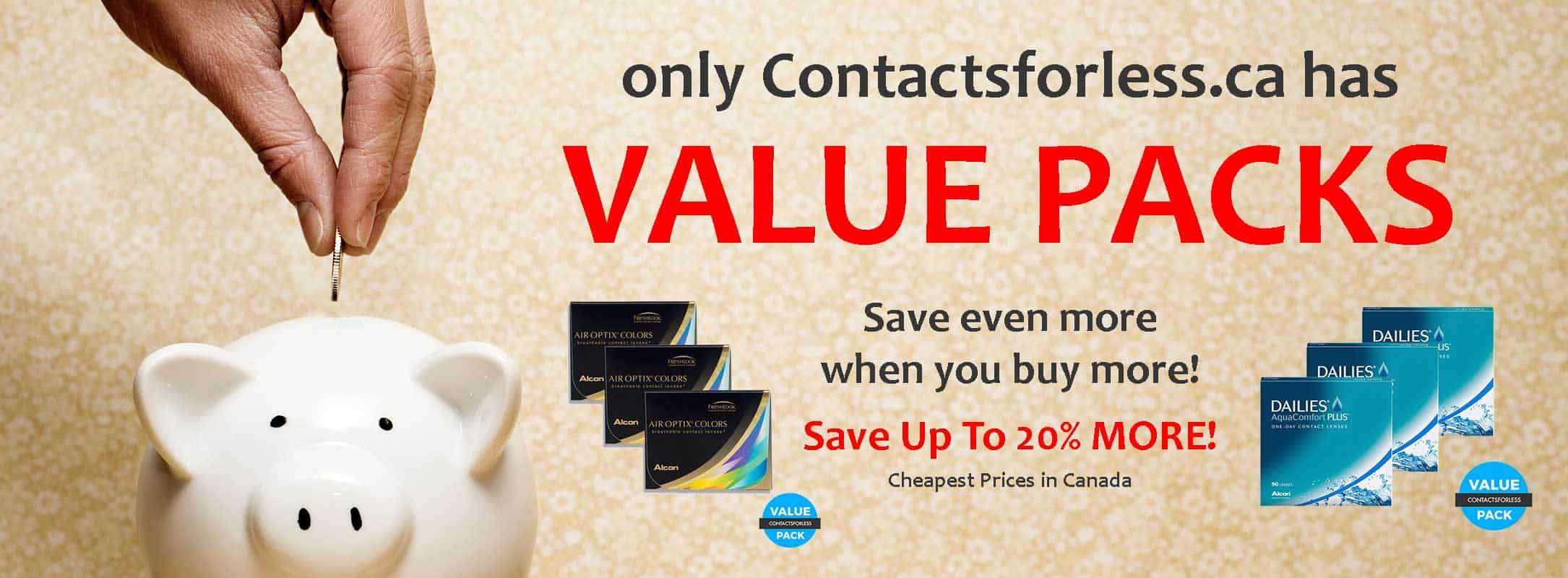 Value Packs on contact lenses in Canada