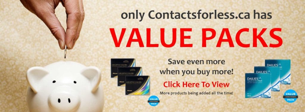 Value Packs at Contactsforless.ca